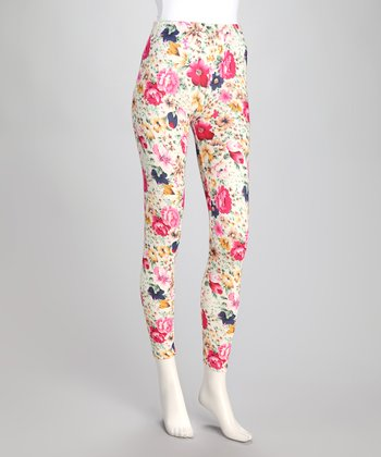 White Floral Faux Denim Leggings
