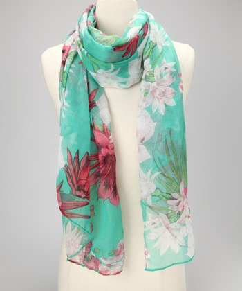 Green Tropical Hibiscus Scarf