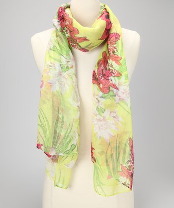Lime Tropical Hibiscus Scarf