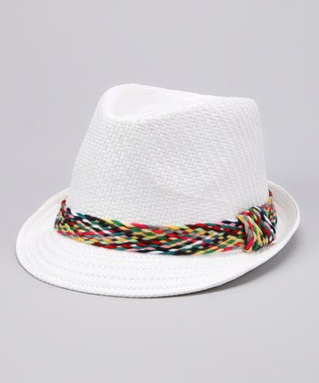 White Plaid Band Woven Fedora