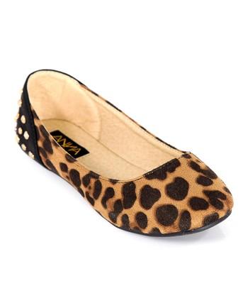 Anna Shoes Leopard Studded Vera Flat