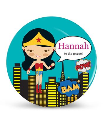 Black-Haired Wonder Girl Personalized Plate