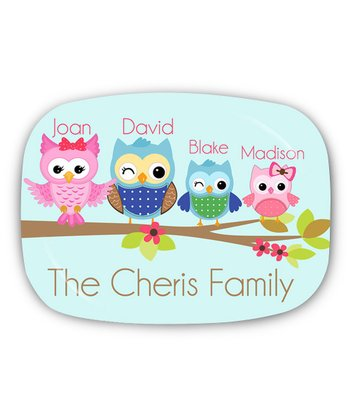 Four Owl Family Personalized Platter