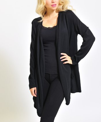 Black Long Open Cardigan