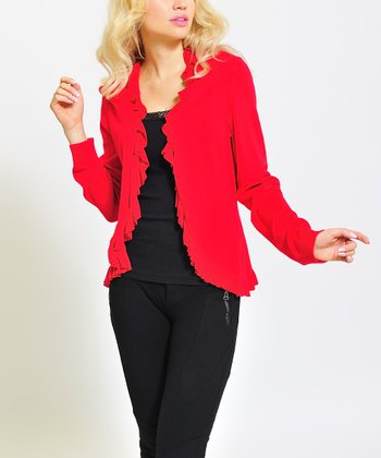 Red Ruffle Open Cardigan