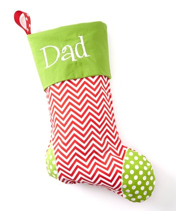 Red & Green Polka Dot Personalized Stocking