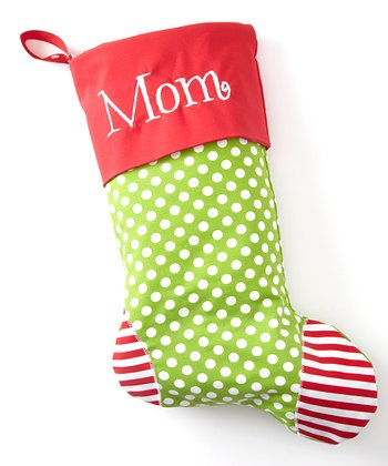 Green Polka Dot Personalized Stocking