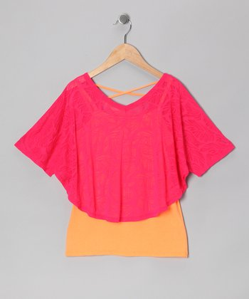 Coral Crush Poncho & Electric Orange Tank