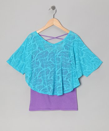 Hawaii Blue Poncho & Electric Purple Tank
