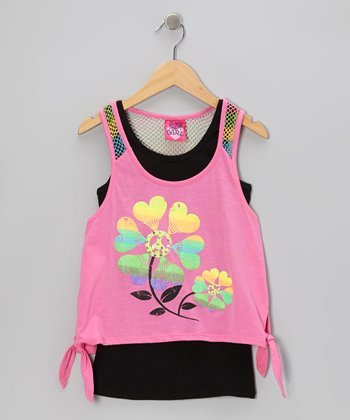 Electric Pink & True Black Tank Set