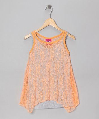 Electric Orange Lace Sidetail Tank Set