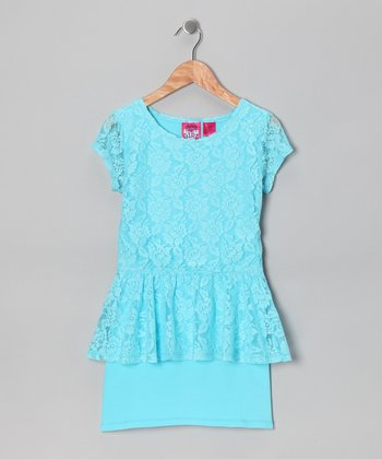 Bermuda Blue Lace Peplum Dress