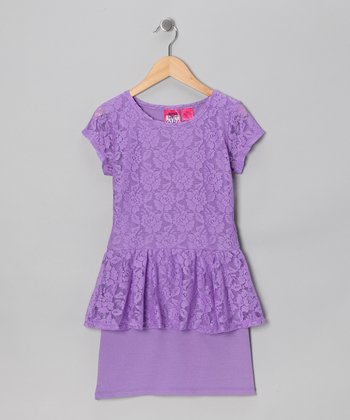 Orchid Petal Lace Peplum Dress