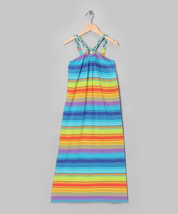 Turquoise Stripe Maxi Dress