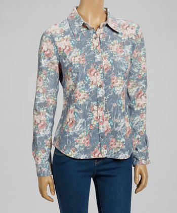 Blue Floral Button-Up - Women