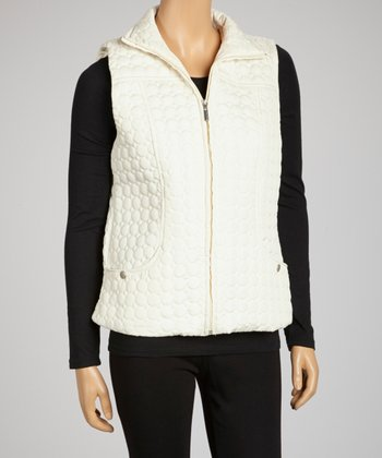 Black Dotted Puffer Vest - Women