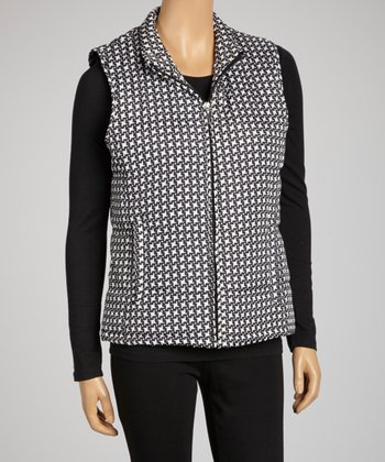 Black & White Windmill Puffer Vest - Women