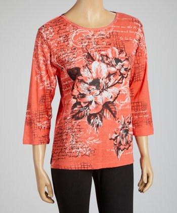 Salmon Floral Three-Quarter Sleeve Top - Women