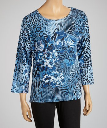 Navy Floral Safari Three-Quarter Sleeve Top - Women