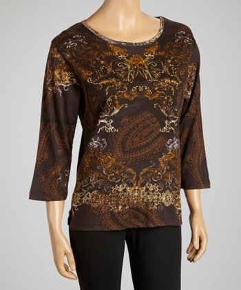Chocolate & Gold Three-Quarter Sleeve Top - Women