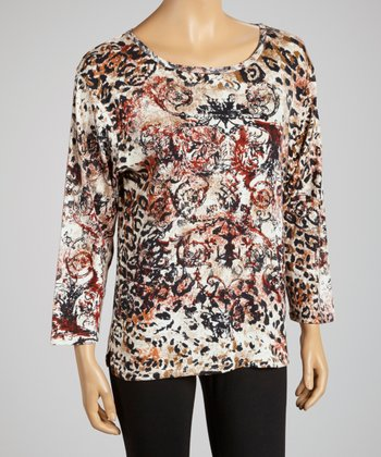 Pearl Abstract Leopard Three-Quarter Sleeve Top - Women