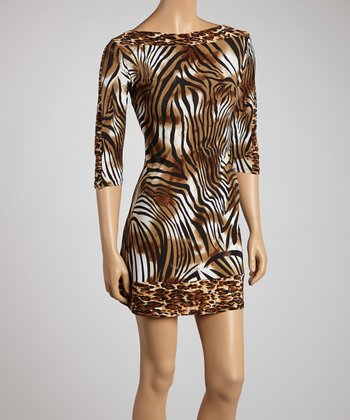 Brown & Black Animal Boatneck Dress