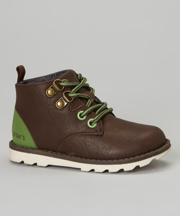 Brown & Green Trap Ankle Boot