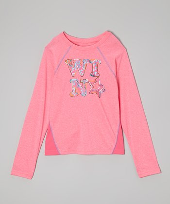 Pink 'Win' Foil Tee - Girls