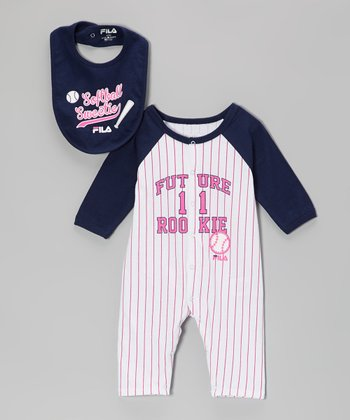 Bright White & Pink 'Rookie' Playsuit & Bib