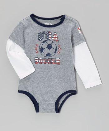 Heather Gray 'USA' Layered Bodysuit