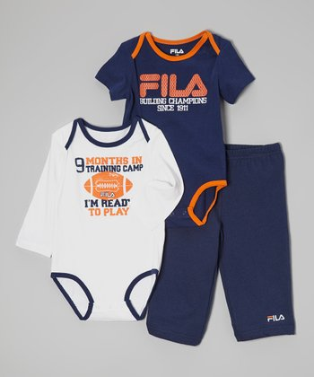Navy & Orange Football Bodysuit Set