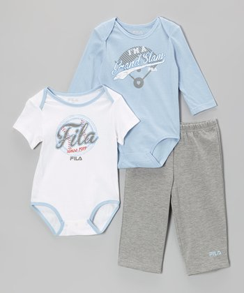 Light Blue & Heather Gray Baseball Bodysuit Set