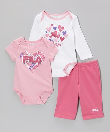 Pink & White Heart Bodysuit Set