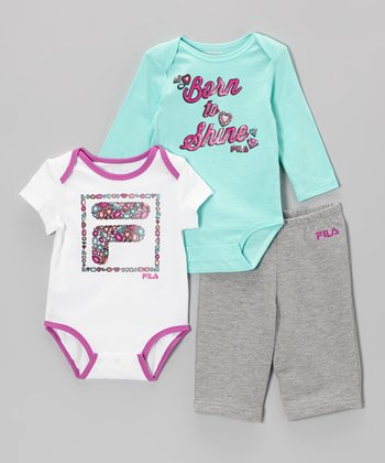 Pink & Blue 'Born to Shine' Bodysuit Set