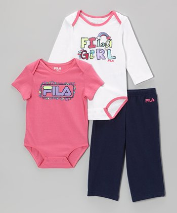 Pink & Black Rainbow 'Girl' Bodysuit Set
