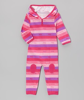 Pink Glow Stripe Hooded Playsuit