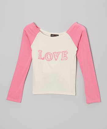 Ivory & Pink 'Love' Raglan Top