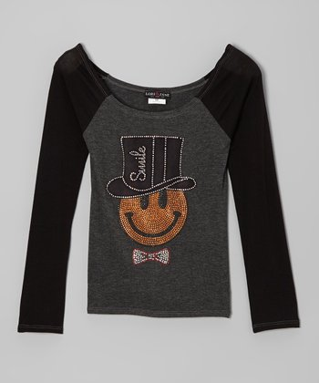 Gray & Black 'Smile' Raglan Top