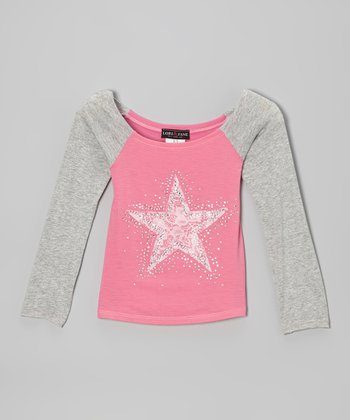 Pink & Gray Star Raglan Top