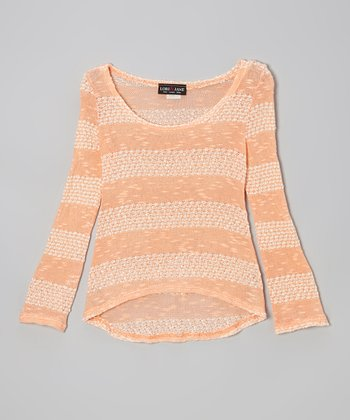 Orange Stripe Hi-Low Sweater