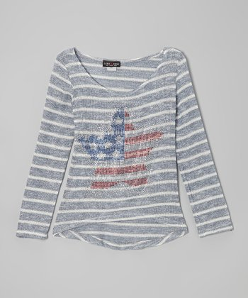 Blue Stripe American Star Hi-Low Sweater