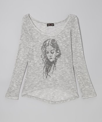 Gray Portrait Hi-Low Sweater