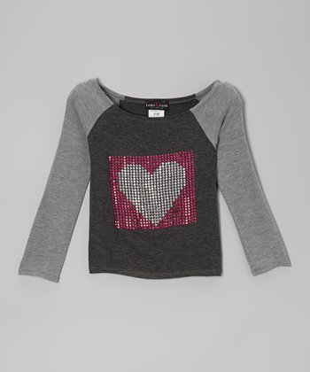 Gray Heart Raglan Top