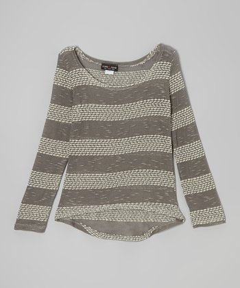 Gray & Charcoal Stripe Hi-Low Sweater - Girls