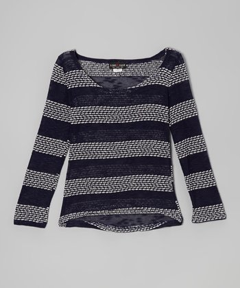 Gray & Blue Stripe Hi-Low Sweater - Girls