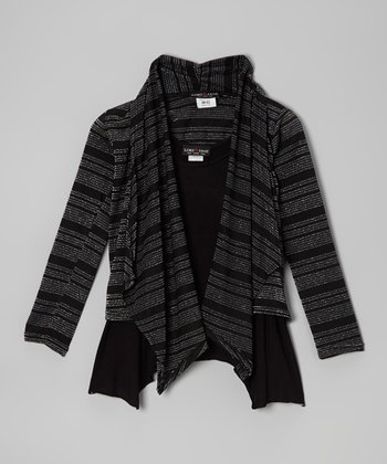 Black & Silver Stripe Cardigan & Tank