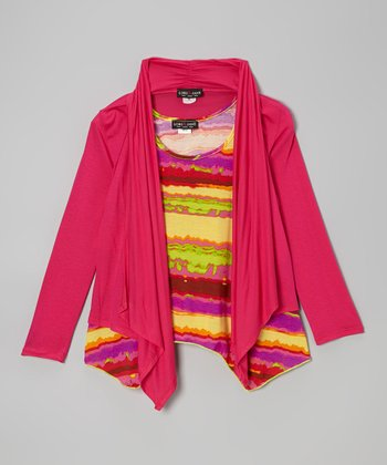 Pink Cardigan & Yellow Stripe Tank