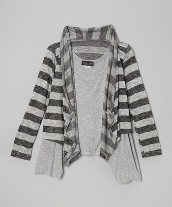 Heather Gray Stripe Cardigan & Tank