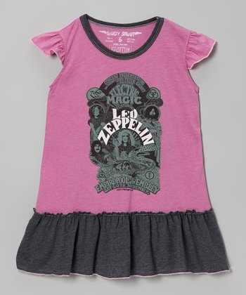 Fuchsia 'Led Zeppelin' Drop-Waist Dress - Infant, Toddler & Girls