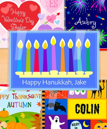 Holidays & Hanukkah Personalized Place Mat - Set of Five